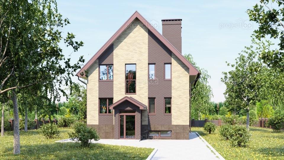 Проект маленького дома с подвалом и двухскатной крышей 211-A
